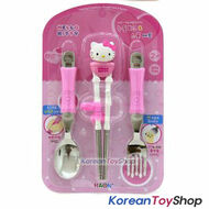 Hello Kitty Stainless Steel Spoon Fork Training Chopsticks Set Made in Korea
