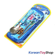 Robocar Poli Stainless Steel Spoon & Training Chopsticks & Case Set BPA Free