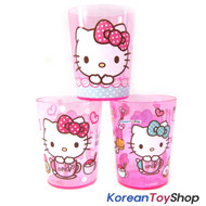Hello Kitty Cute Cup Set / 3 pcs Cups Kids Children / Made in Korea / Pink