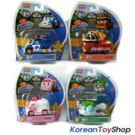 "Robocar Poli Diecast Metal Toy 2.8"" 4pcs Set Poli Roy Amber Helly Model Academy"