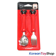 Disney Mickey Minnie Mouse Stainless Steel Spoon Fork Set / Mickey Red BPA Free