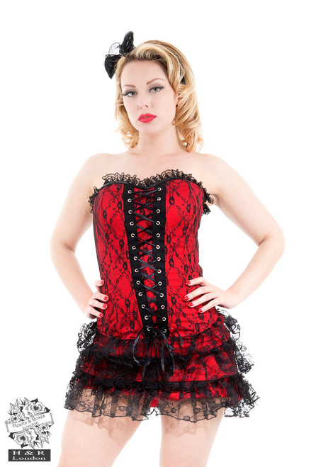 H&R London Red Moulin Rouge Corset Dress
