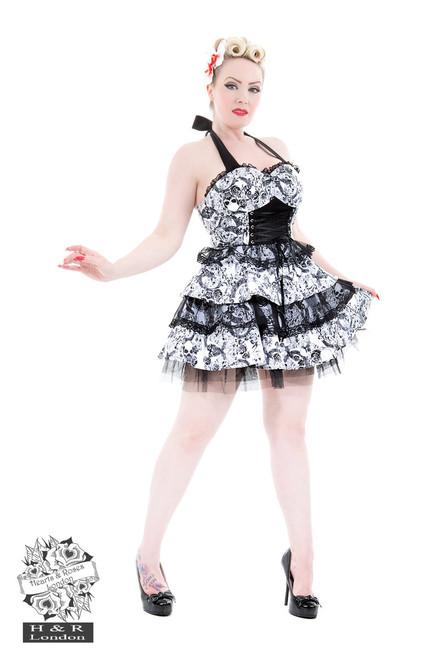 H&R London Spooky Skull Gothic Dress