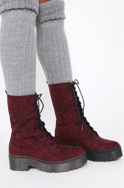 Iron Fist/Walking In My Web Heavy Sole Boot Burgundy IFW005099