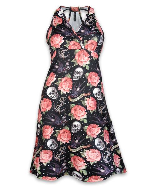 Liquorbrand Roses Tattoo Dress Bow  DRESS-077