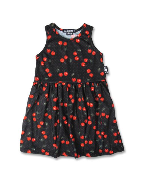Six Bunnies Cherries Black Kid's Dress  SB/KDR-005