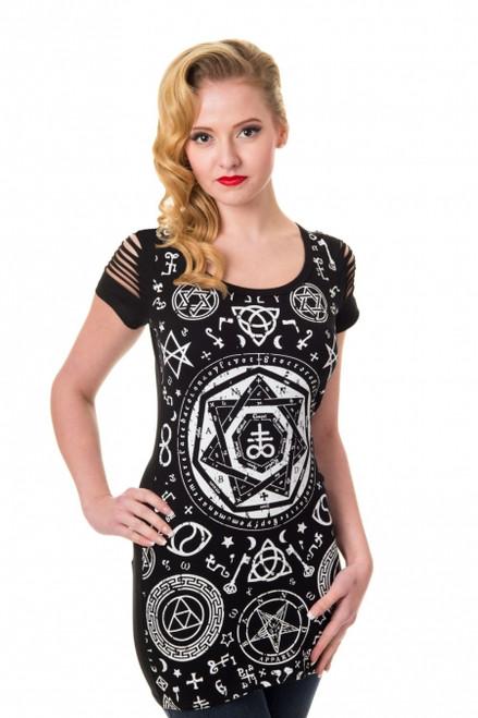 Banned Pentagram Black Top  OBN-149-BLK