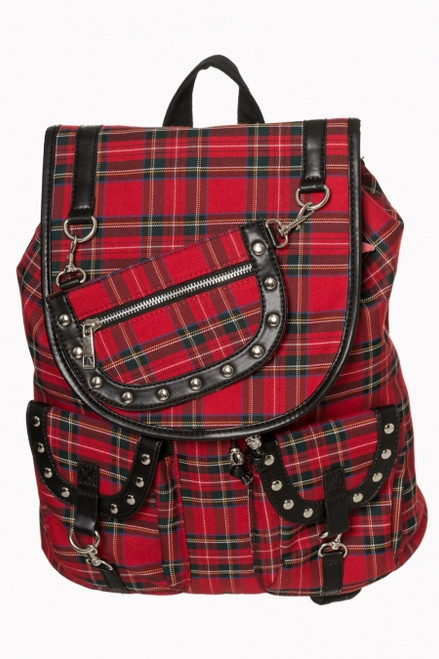 Banned Red Tartan Backpack BBN-7152-TRT