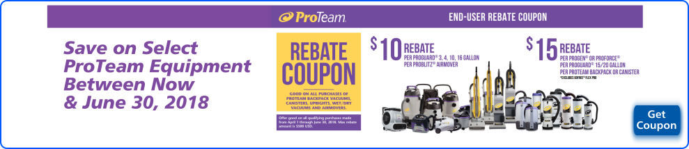 ProTeam Rebate Coupon on Select Equipment