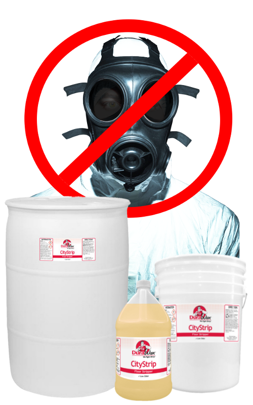 gas mask man with citystrip gallon pail and 55 gallon drum