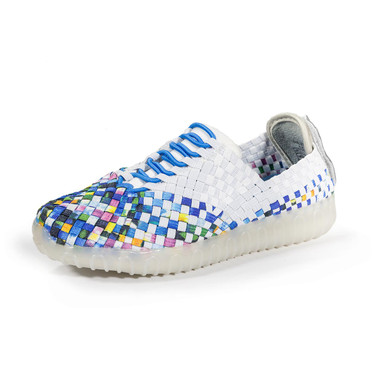 NEVI White/Turquoise Multi Light Up Woven Sneakers