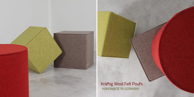 HANDMADE IN GERMANYKräftig Wool Felt Poufs