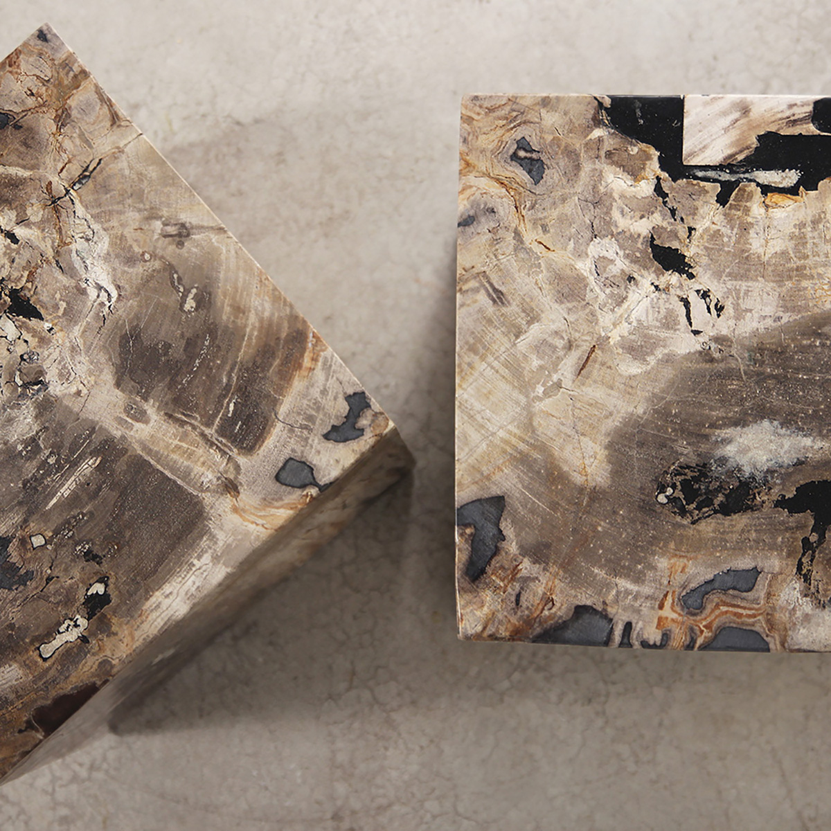 wooden petrified cube side table