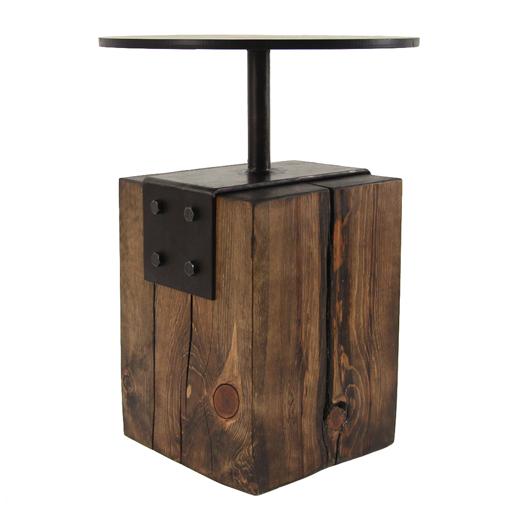 Custom Metal and Wood Side Table