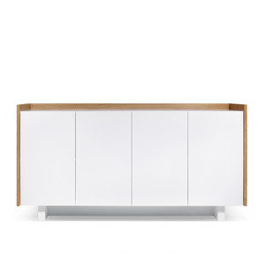 As Shown: Skin Sideboard Size: 63 x 18 x 32 H inches Material: Oak Veneer, Lacquered Wood