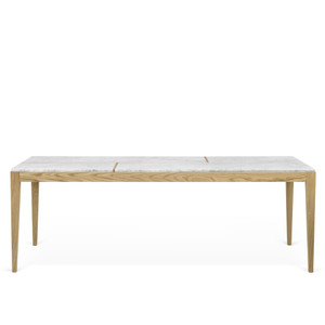 Utile Dining Table 79 x 38 x 30 H inches Solid Oak, Marble