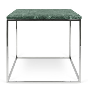 As Shown:  Gleam Marble Side Table Size: 20 x 20 x 18 H inches Material: Green Marble, Chrome