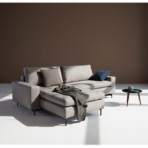Idi Sofa Bed 94 x 71 x 27 H inches, Seat 12 H inches Light Grey Polyester Black legs