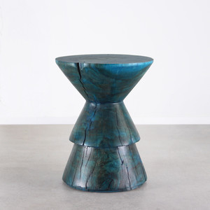 As Shown: Kali Side Table Size: 15.5 dia x 20 H inches Finish: Azure Blue Topcoat: Sealed Topcoat