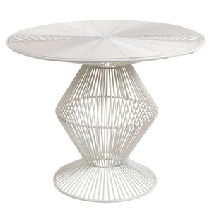 As Shown: Thira Wire End Table - FIFE-106 Size: 23 x 23 x 18.5 H inches Material: Metal in White