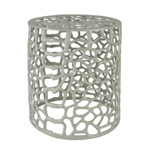 As Shown: Organique Filigree Metal Stool - RIS-002 Size: 13 dia x 15.5 H inches Material: Metal in Light Grey