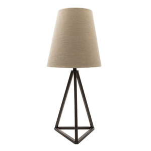 As Shown: Belmont Table Lamp - BEM-200 Size: 13 dia x 30.5 H inches Material: Metal  with a Linen Shade