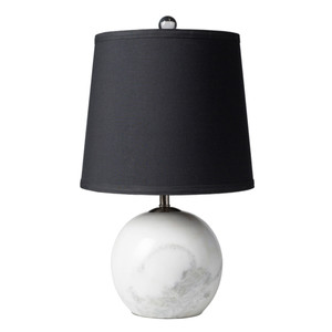 As Shown: Sinclair Table Lamp - SIA-100 Size: 11 dia x 18.5 H inches Material: Marble with Faux Silk Shade