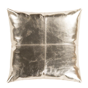 As Shown: Champagne Leather Pillow - RTZ-001 Size: 18 x 18 inches Material: Leather, Cotton Back