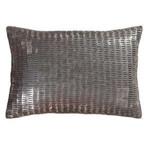 As Shown: Ankara Pillow - ANK-001 Size: 13 x 19 inches Material: Linen/Cotton Color - Grey