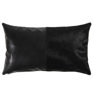 As Shown: Duality Black Pillow Size: 12 x 20 inches Material: Leather, Cowhide Color: Black