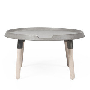 As Shown: Mix Coffee Table Size: 27.5 diameter x 13.75 H inches Material: Concrete, Wood Legs