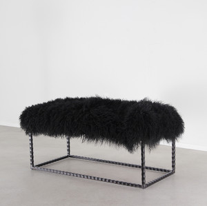 As shown: Textura Mongolian Bench Dimensions: 40 x 18 x 18 H inches Materials: Mongolian Hide, Steel Color: Black
