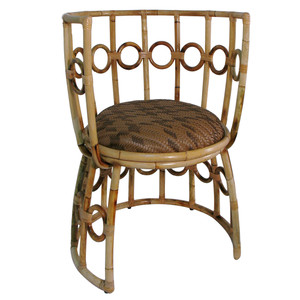As Shown: Julia Chair - Contemporary Rattan Chair Size: 27.5 x 26.5 x 33.5 H inches, Seat 17.75 H inches Material: Rattan, Metal Frame
