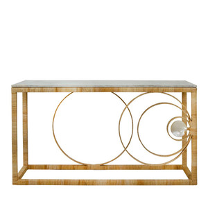 As Shown: La Union Console Size: 61 x 20 x 33 H inches Material: Metal Frame, Rattan, Marble Top and Mother of Pearl