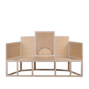 As Shown: Tiered Rattan Bench Size: 80.25 x 24.75 x 47.25 H inches, Seat 17.25 H inches Material: Mahogany with Rattan