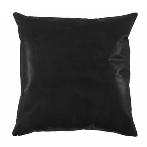 Black Leather Pillow Size: 20x 20 inches Material: Leather Color: Black