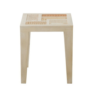 As Shown: Basilisa Modern Outdoor End Table Size: 15.75 x 15.75 x 18.5 H inches Material: Mahogany with Rattan
