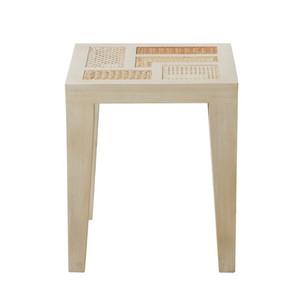 Basilisa Modern Outdoor End Table 15.75 x 15.75 x 18.5 H inches Mahogany, Rattan