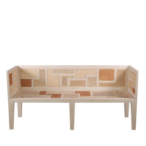 As Shown: Basilisa Bench Size: 69 x 24.5 x 32 H inches, Seat 17.25 H inches Material: Mahogany with Rattan