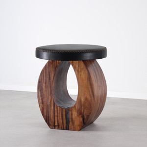 As Shown: Madrid Stool Size: 16 dia x 18 H inches Finish: Dark Walnut Topcoat: Oiled Topcoat
