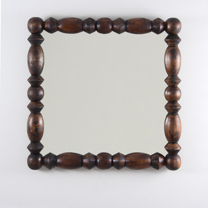 As Shown: Montserrat Mirror Size: 15.5 dia x 20 H inches Finish: Dark Walnut Topcoat: Oiled Finish