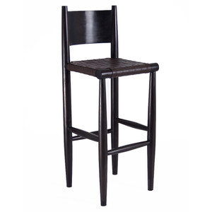 As Shown:  Durant Bar Stool Size: 16 x 18 x 35.5 H inches (24 H inch seat) Material: Leather and Mango Wood