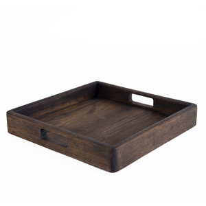 As Shown: Teak Wood Serving Tray Size: 15 x 15 x 2.5 H inches Finish: Pale Black Exterior Oil