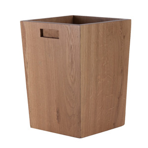 As Shown: Los Robles Oak Waste Bin Size: 10 x 10 x 14 H inches Material: White Oak Color: Natural