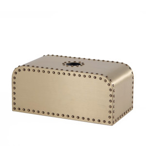 As Shown: Ocean Liner Tissue Box Size: 5.25 x 9.25 x 4.25 H inches Material: Brass, Wood