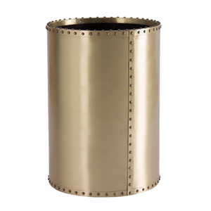 As Shown: Ocean Liner Waste Bin Size: 10 diameter x 14 H inches Material: Brass