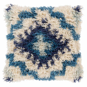 As Shown: Santiago Shag Pillow - AGD-001 Size: 20 x 20 inches Material: Wool & Cotton Color: Multicolor