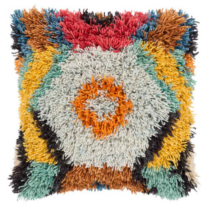 As Shown: Woodstock Shag Pillow - AGD-002 Size: 20 x 20 inches Material: Wool & Cotton Color: Multicolor