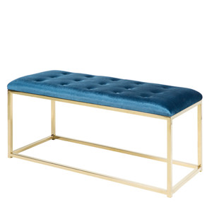 As Shown: Donatella Bench - RIG-001/002 Size: 39 x 16 x 19 H inches Material: Blue Upholstered Cotton on Gold Metal Base