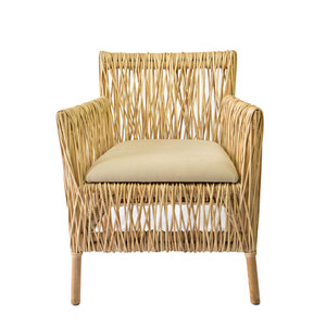 As Shown: Hatch Dining Chair Size: 26 x 24.75 x 31 H inches Material: Rattan, Upholstered Seat